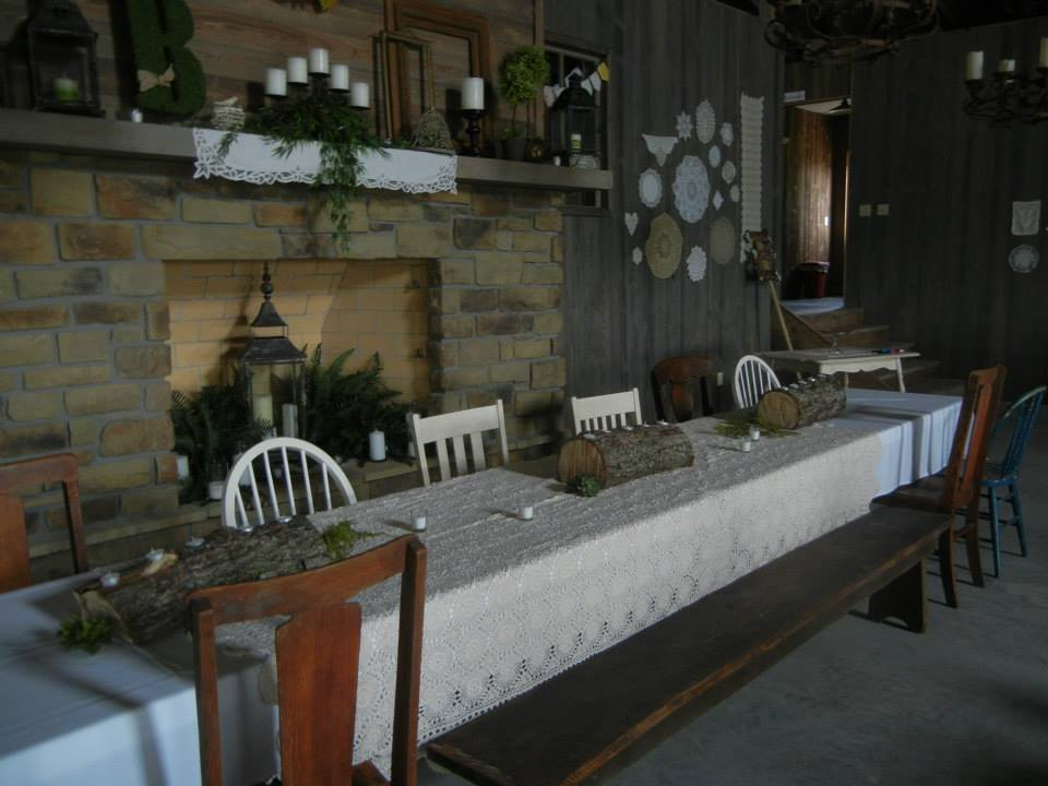 Renyers coach house wedding fireplace